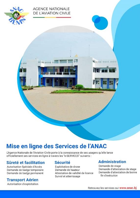MISE EN LIGNE DES SERVICES DE L'ANAC